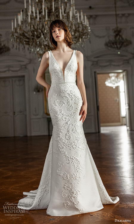 daalarna spring 2022 bridal sleeveless straps plunging v neckline fully embellished sheath fit flare wedding dress chapel train (28) mv