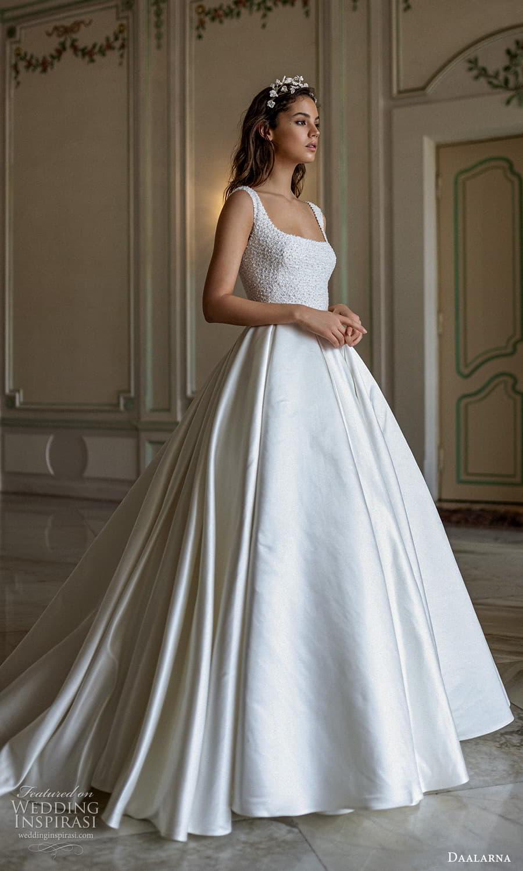 daalarna spring 2022 bridal sleeveless straps square neckline embellished bodice a line ball gown wedding dress chapel train (4) mv