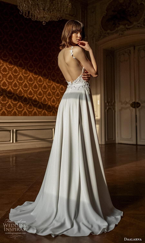 daalarna spring 2022 bridal sleeveless straps sweetheart neckline embellished bodice clean skirt a line wedding dress chapel train (29) bv