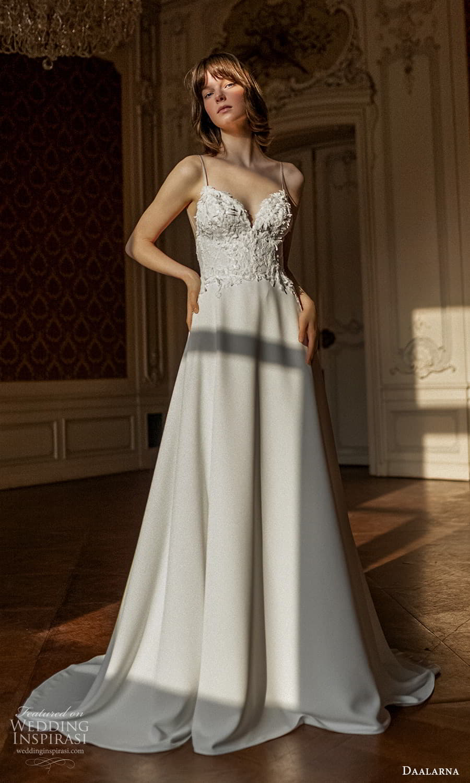 daalarna spring 2022 bridal sleeveless straps sweetheart neckline embellished bodice clean skirt a line wedding dress chapel train (29) mv