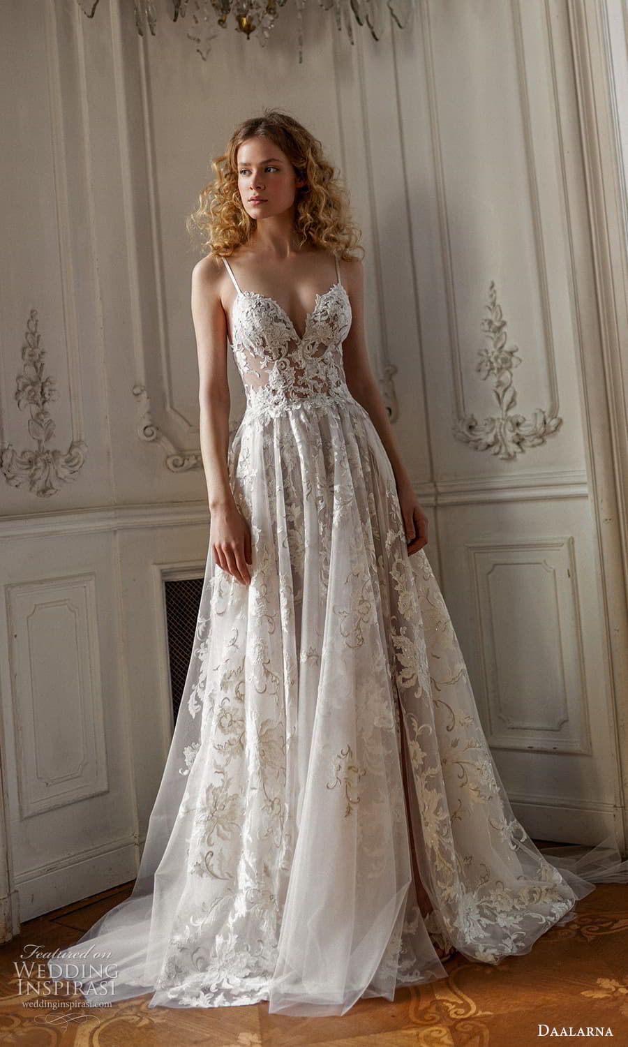 daalarna spring 2022 bridal sleeveless straps sweetheart neckline fully embellished lace a line ball gown wedding dress chapel (5) mv