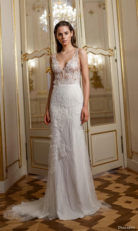 daalarna spring 2022 bridal sleeveless straps v nekcline fully embellished sheer bodice sheath wedding dress sweep train (15) mv
