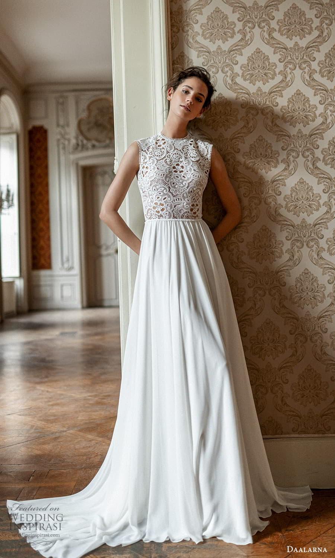 daalarna spring 2022 bridal sleeveless thick straps jewel neckline embellished bodice a line wedding dress (25) mv