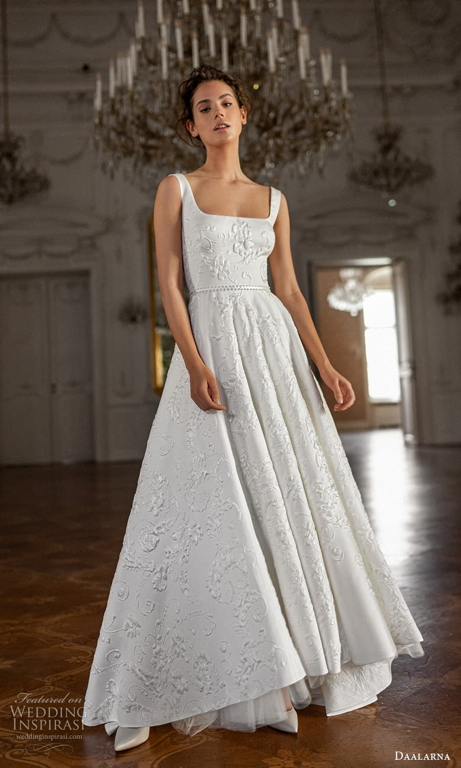 daalarna spring 2022 bridal sleeveless thick straps square neckline embellished a line ball gown wedding dress (11) fv