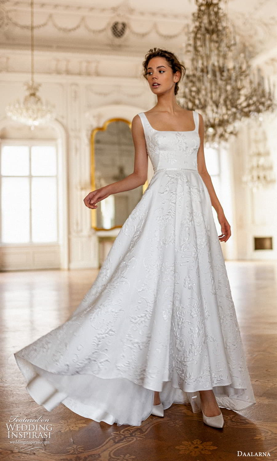 daalarna spring 2022 bridal sleeveless thick straps square neckline embellished a line ball gown wedding dress (11) mv