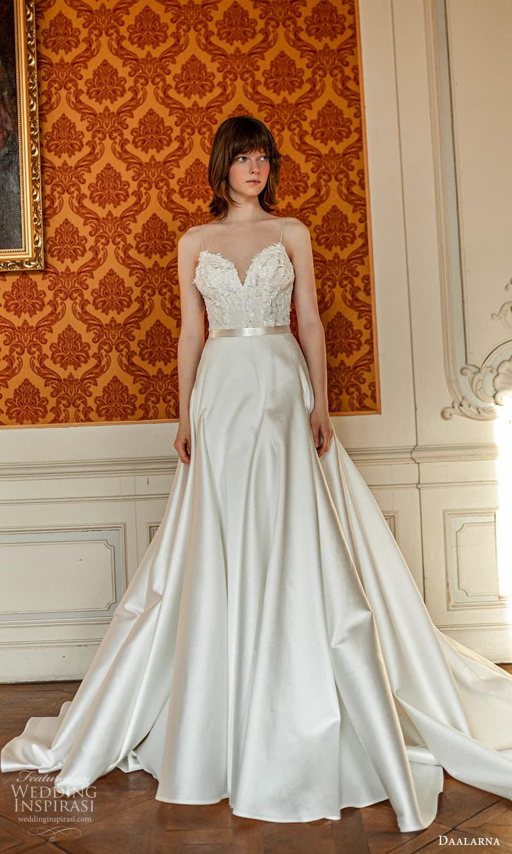 daalarna spring 2022 bridal sleeveless thin strap sweetheart neckline embellished bodice clean skirt a line wedding dress (22) mv
