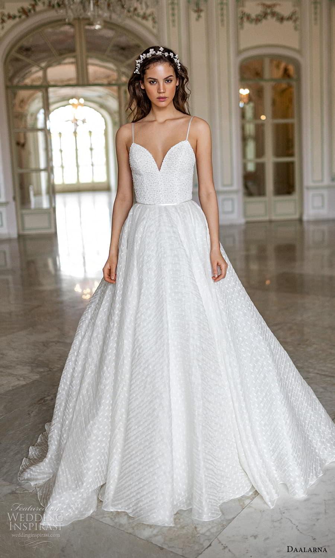 daalarna spring 2022 bridal sleeveless thin straps sweetheart neckline embellished bodice a line ball gown wedding dress chapel train (10) mv