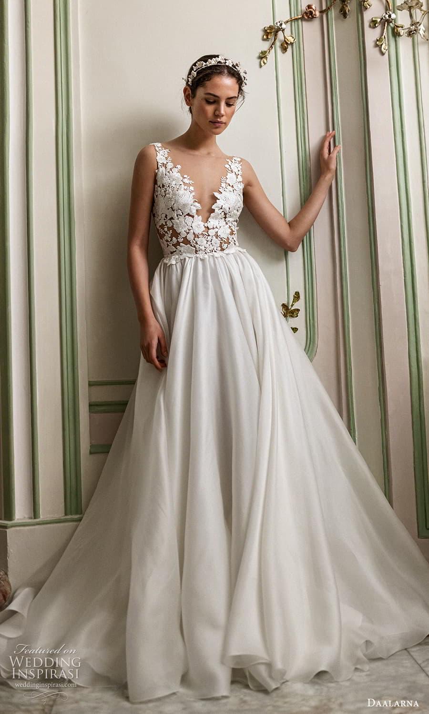 daalarna spring 2022 bridal sleeveless v neckline embellished bodice clean skirt a line wedding dress chapel train (2) mv