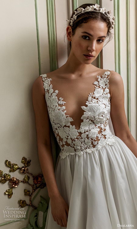 daalarna spring 2022 bridal sleeveless v neckline embellished bodice clean skirt a line wedding dress chapel train (2) zv