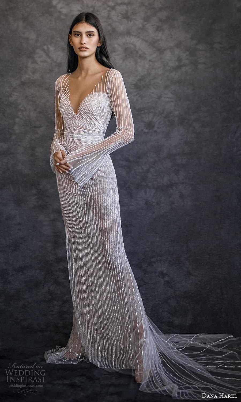 dana harel spring 2022 bridal long flare sleeves sweetheart v neckline fully embellished sheath wedding dress chapel train (7) mv