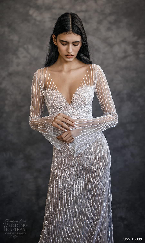 dana harel spring 2022 bridal long flare sleeves sweetheart v neckline fully embellished sheath wedding dress chapel train (7) zv