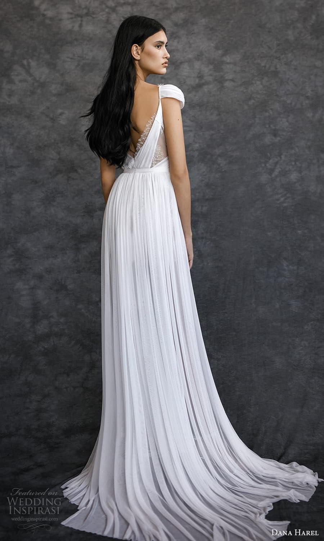dana harel spring 2022 bridal off shoulder straps surplice sweetheart neckline ruched a line wedding dress chapel train (3) bv