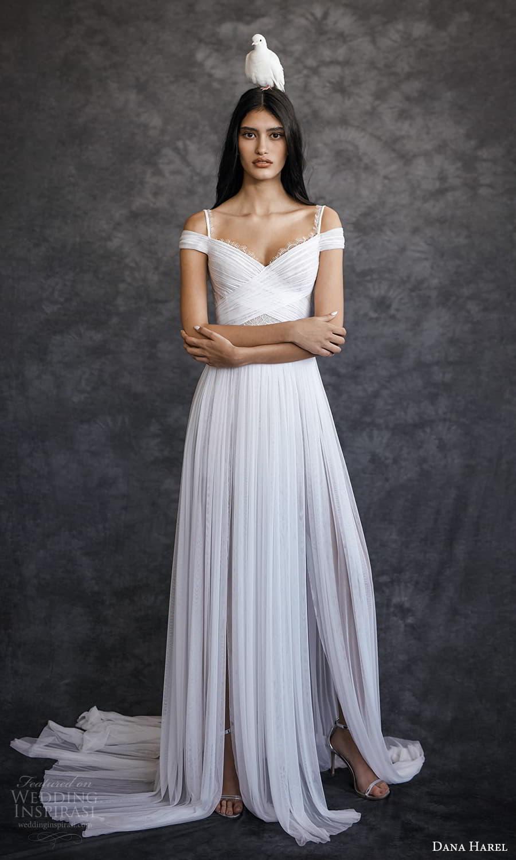 dana harel spring 2022 bridal off shoulder straps surplice sweetheart neckline ruched a line wedding dress chapel train (3) fv