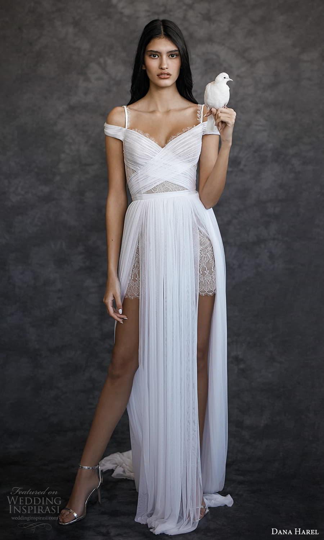dana harel spring 2022 bridal off shoulder straps surplice sweetheart neckline ruched a line wedding dress chapel train (3) mv