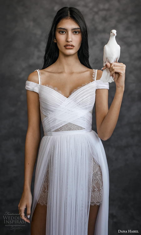 dana harel spring 2022 bridal off shoulder straps surplice sweetheart neckline ruched a line wedding dress chapel train (3) zv