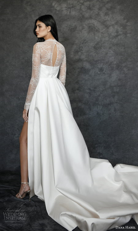 dana harel spring 2022 bridal sheer long sleeves high neckling clean minimalist a line wedding dress chapel train (2) bv