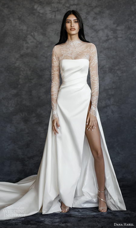 dana harel spring 2022 bridal sheer long sleeves high neckling clean minimalist a line wedding dress chapel train (2) mv
