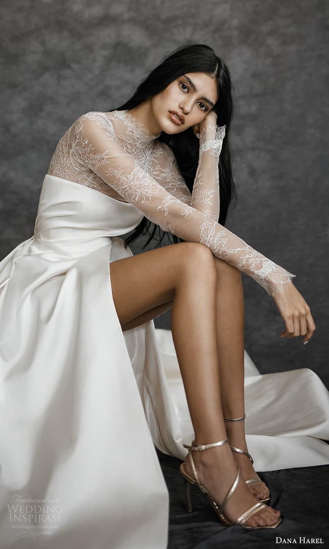 dana harel spring 2022 bridal sheer long sleeves high neckling clean minimalist a line wedding dress chapel train (2) zv