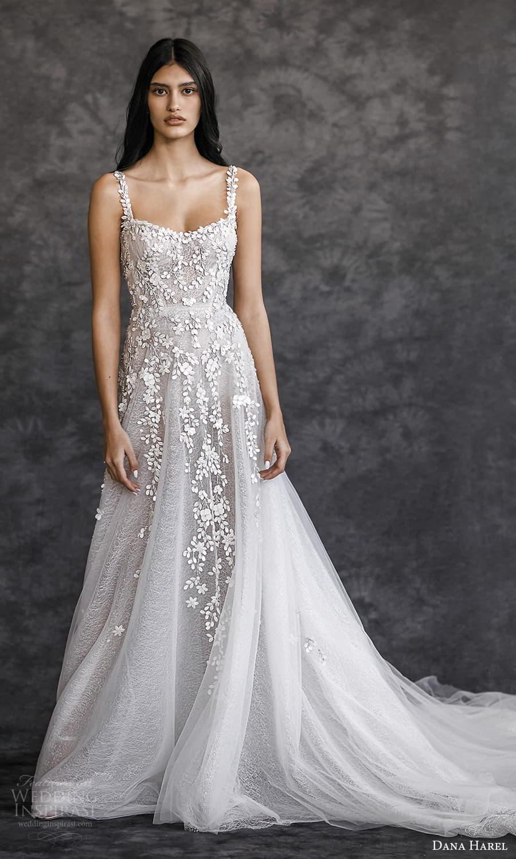 dana harel spring 2022 bridal sleeveless straps semi sweetheart neckline fully embellished a line wedding dress chapel train (6) mv