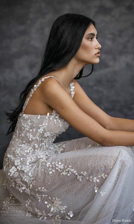 dana harel spring 2022 bridal sleeveless straps semi sweetheart neckline fully embellished a line wedding dress chapel train (6) zsv