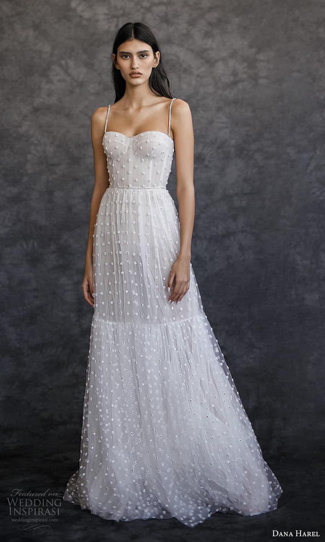 dana harel spring 2022 bridal sleeveless straps semi sweetheart neckline fully embellished a line wedding dress sweep train (4) mv