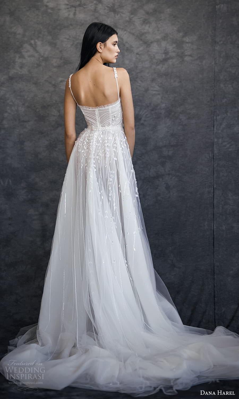 dana harel spring 2022 bridal sleeveless straps sweetheart neckline fully embellished a line ball gown wedding dress chapel train (1) bv