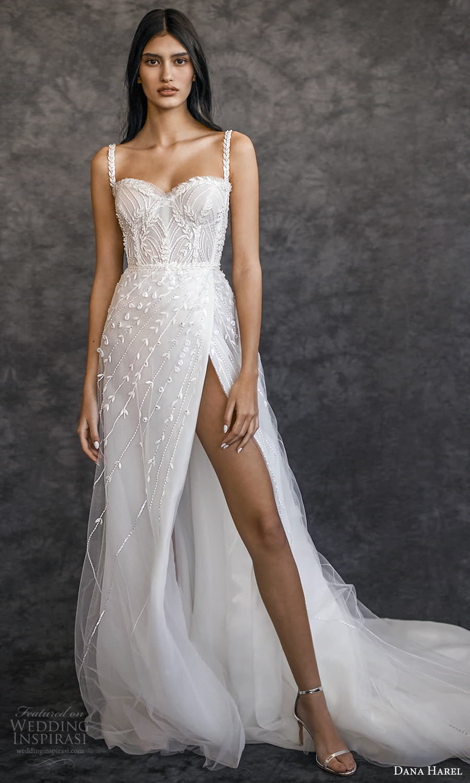 dana harel spring 2022 bridal sleeveless straps sweetheart neckline fully embellished a line ball gown wedding dress chapel train (1) fv