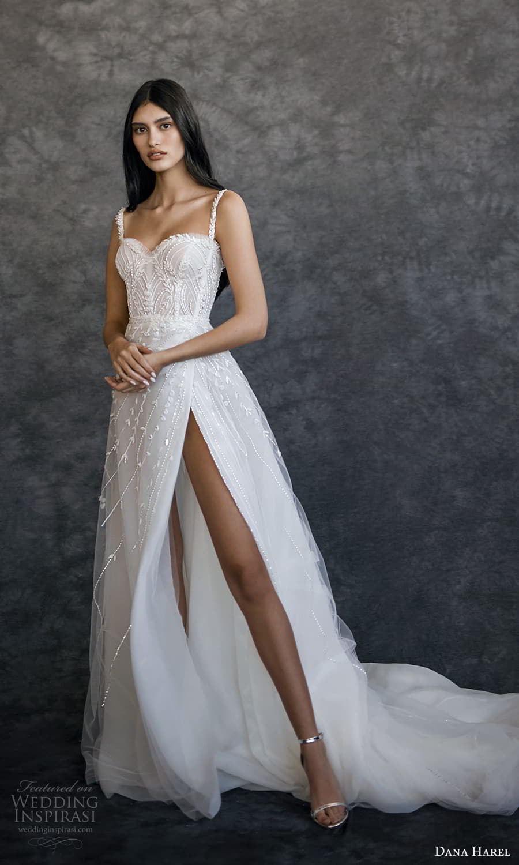 dana harel spring 2022 bridal sleeveless straps sweetheart neckline fully embellished a line ball gown wedding dress chapel train (1) mv