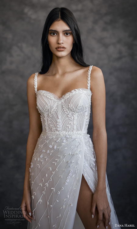 dana harel spring 2022 bridal sleeveless straps sweetheart neckline fully embellished a line ball gown wedding dress chapel train (1) zv