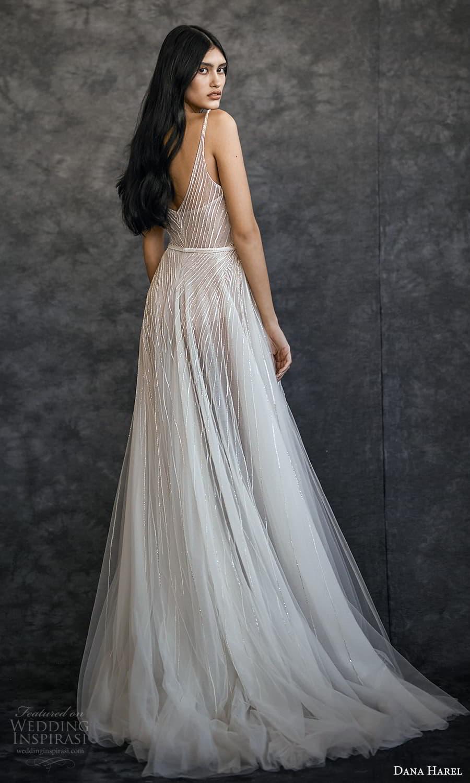 dana harel spring 2022 bridal sleeveless straps v neckline fully embellished a line wedding dress slit skirt (5) bv