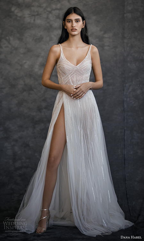 dana harel spring 2022 bridal sleeveless straps v neckline fully embellished a line wedding dress slit skirt (5) mv