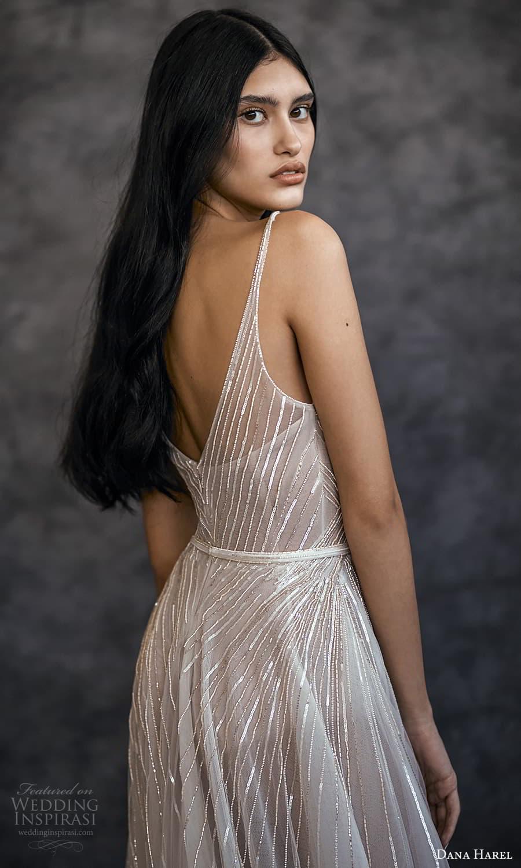 dana harel spring 2022 bridal sleeveless straps v neckline fully embellished a line wedding dress slit skirt (5) zbv