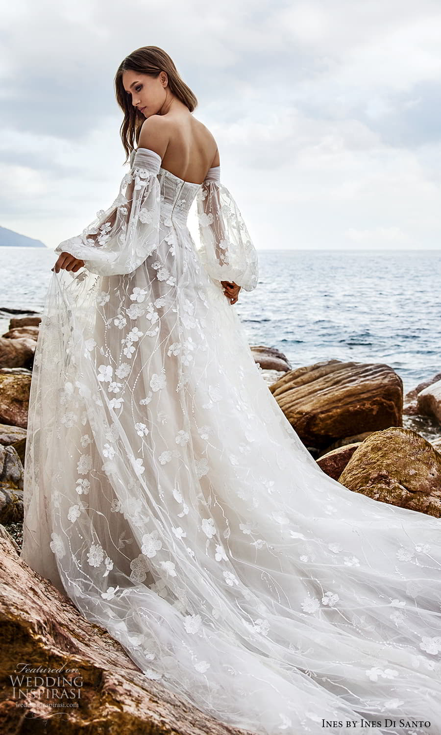 ines ines di santo spring 2022 bridal detached bishop sleeves strapless sweetheart neckline fully embellished a line ball gown wedding dress chapel train (1) bv