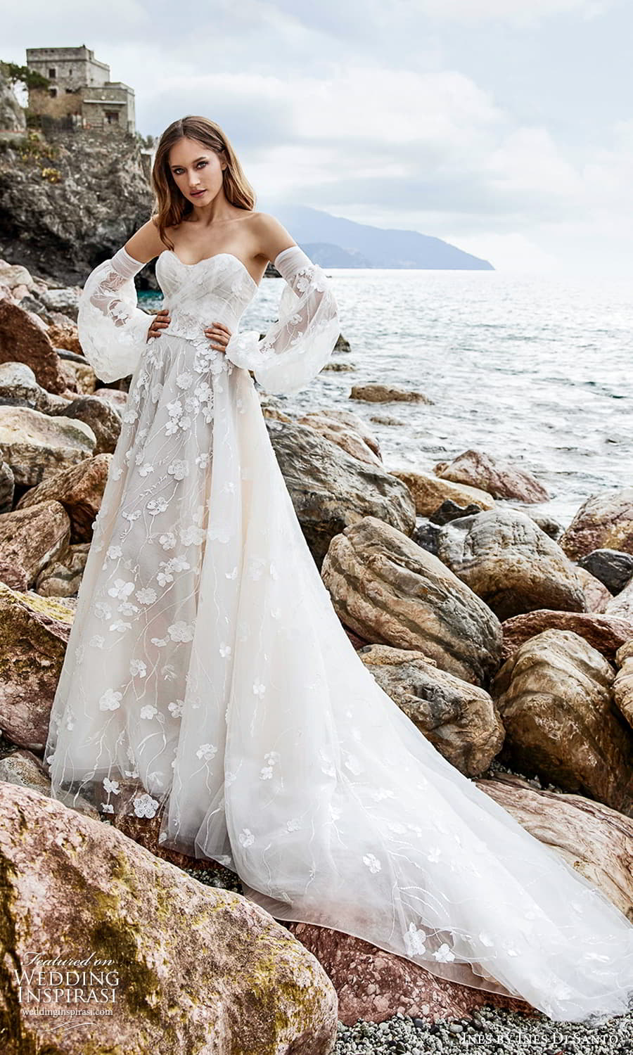 ines ines di santo spring 2022 bridal detached bishop sleeves strapless sweetheart neckline fully embellished a line ball gown wedding dress chapel train (1) mv