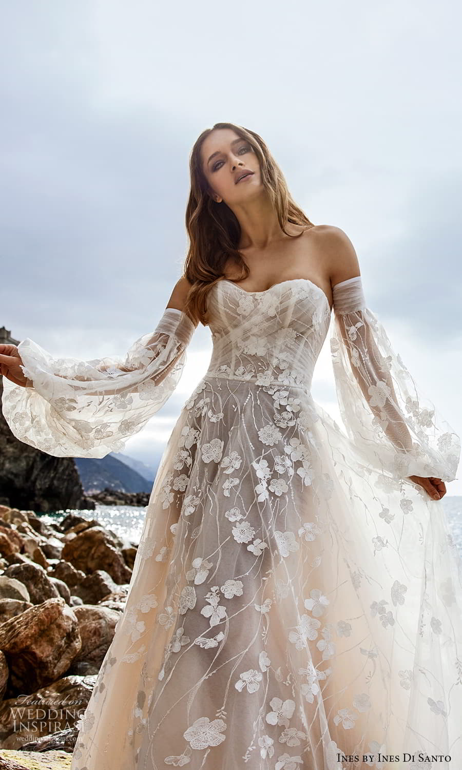 ines ines di santo spring 2022 bridal detached bishop sleeves strapless sweetheart neckline fully embellished a line ball gown wedding dress chapel train (1) zv