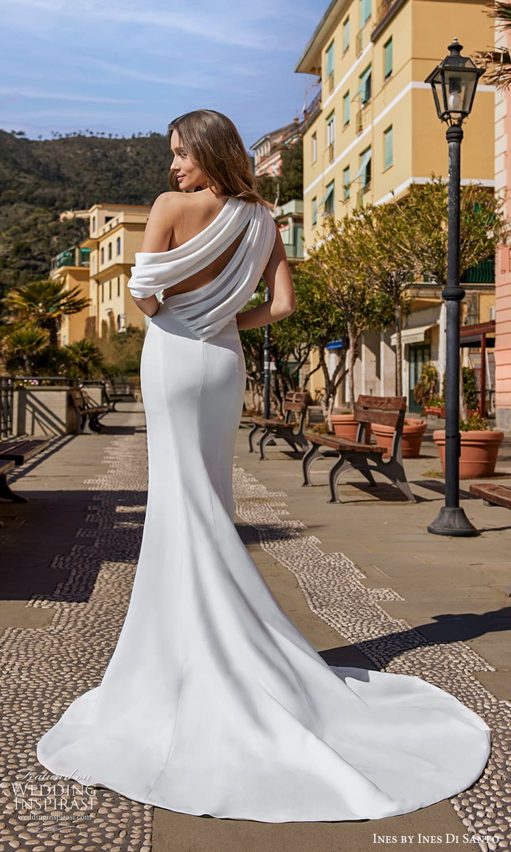ines ines di santo spring 2022 bridal one shoulder strap asymmetric neckline clean minimalist sheath sweep train (9) bv