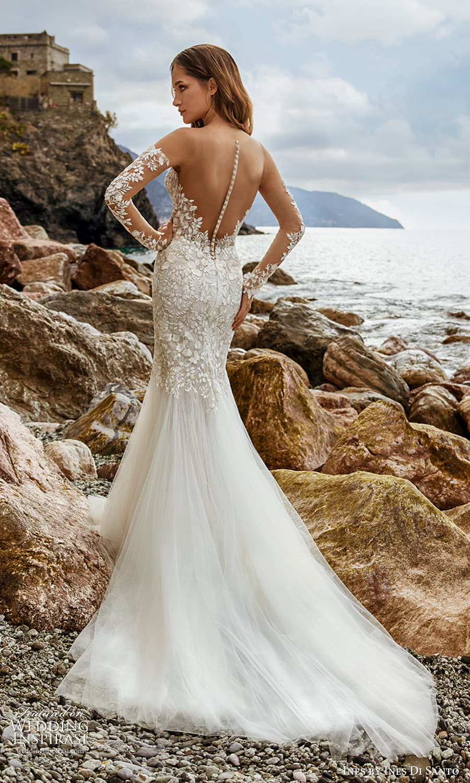 ines ines di santo spring 2022 bridal sheer long sleeves plunging v neckline fully embellished fit flare mermaid wedding dress chapel train (15) bv