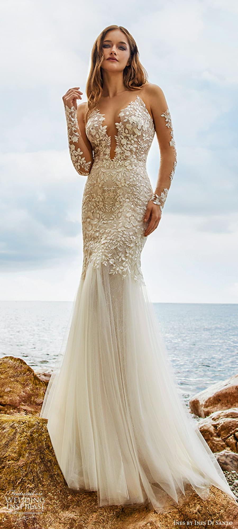 ines ines di santo spring 2022 bridal sheer long sleeves plunging v neckline fully embellished fit flare mermaid wedding dress chapel train (15) mv