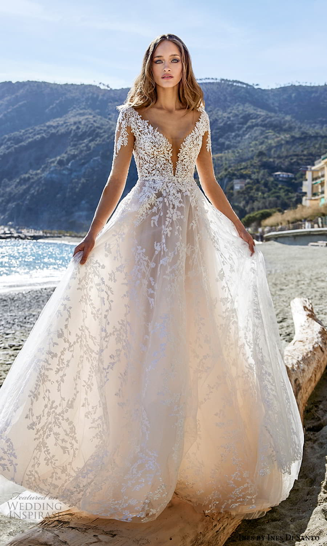 ines ines di santo spring 2022 bridal sheer long sleeves v neckline heavily embellished bodice a line ball gown wedding dress blush (4) mv
