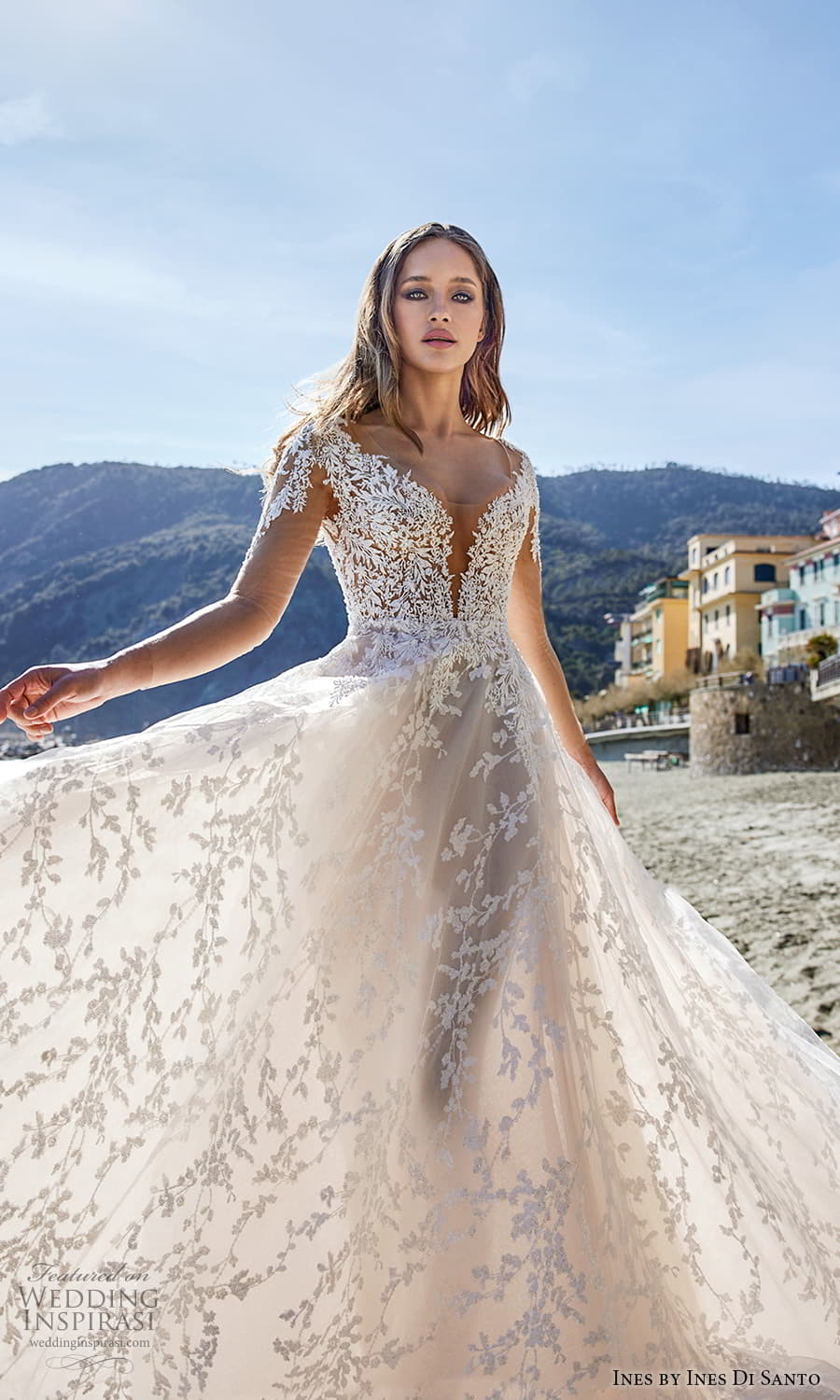 ines ines di santo spring 2022 bridal sheer long sleeves v neckline heavily embellished bodice a line ball gown wedding dress blush (4) zv