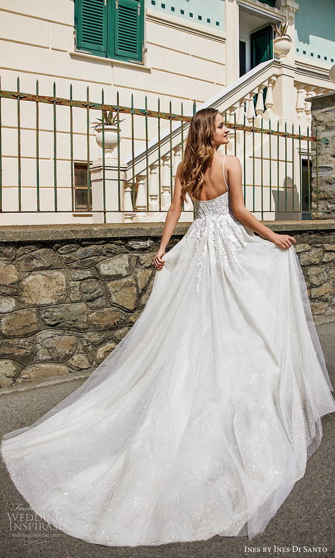 ines ines di santo spring 2022 bridal sleeveless beaded straps sweetheart neckline fully embellished a line ball gown wedding dress chapel train slit skirt (3) bv