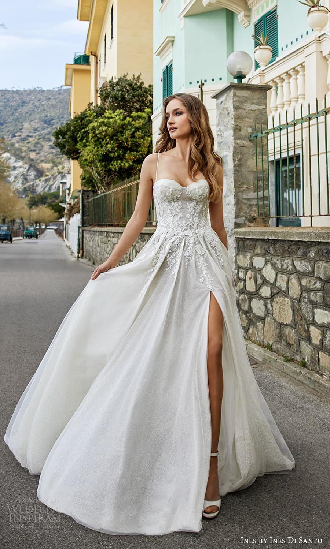 ines ines di santo spring 2022 bridal sleeveless beaded straps sweetheart neckline fully embellished a line ball gown wedding dress chapel train slit skirt (3) mv