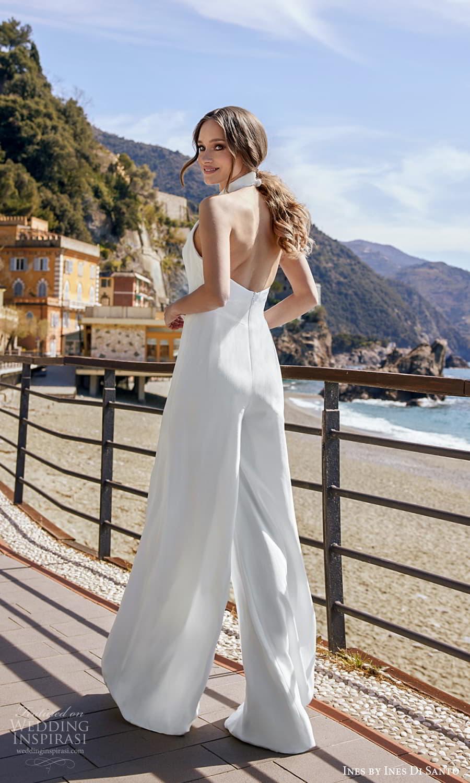 ines ines di santo spring 2022 bridal sleeveless halter high neckline split bodice clean minimalist jumpsuit wedding dress open back (11) bv