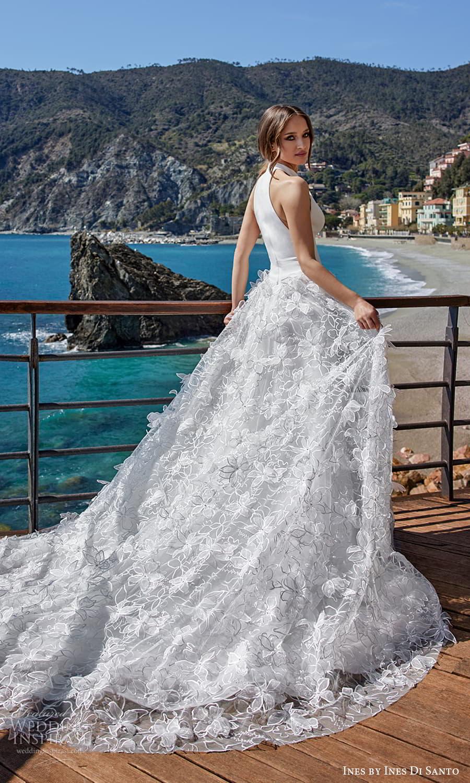 ines ines di santo spring 2022 bridal sleeveless halter jewel split neckline clean minimalist bodice embellished skirt a line ball gown wedding dress (10) bv
