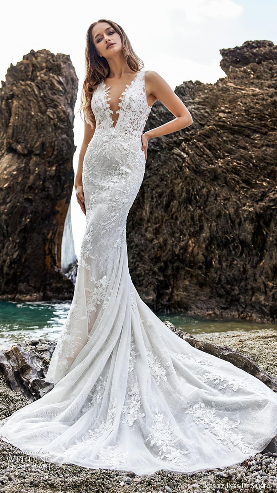 ines ines di santo spring 2022 bridal sleeveless straps plunging v neckline fully embellished sheath wedding dress chapel train (2) mv