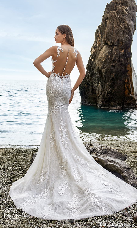 ines ines di santo spring 2022 bridal sleeveless straps plunging v neckline fully embellished sheath wedding dress chapel train sheer back (2) bv