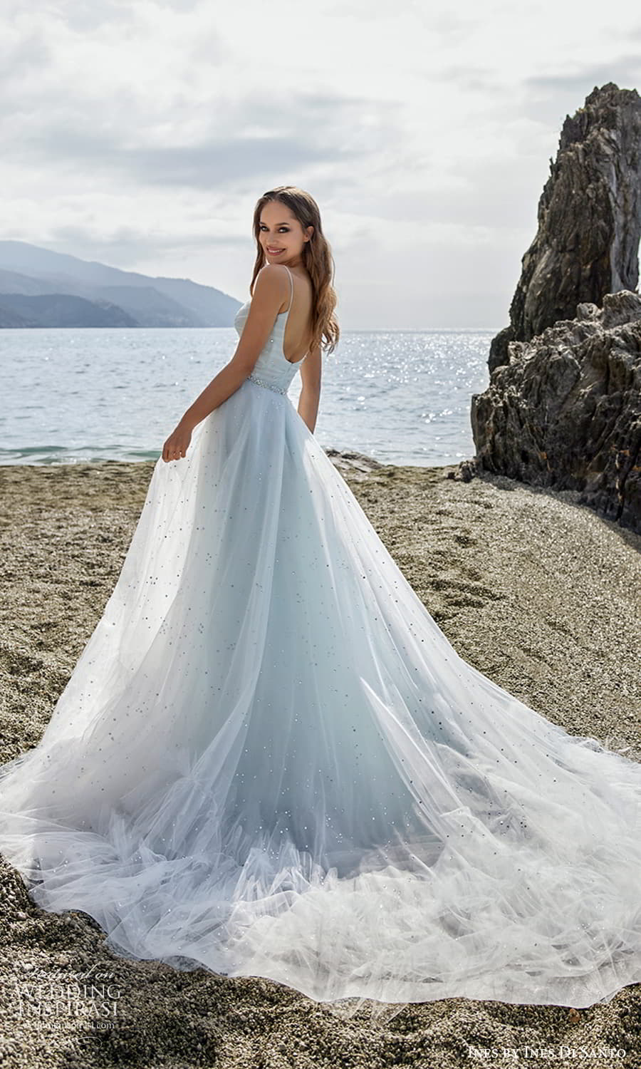 ines ines di santo spring 2022 bridal sleeveless straps scoop neckline ruched bodice a line ball gown wedding dress chapel train (13) bv