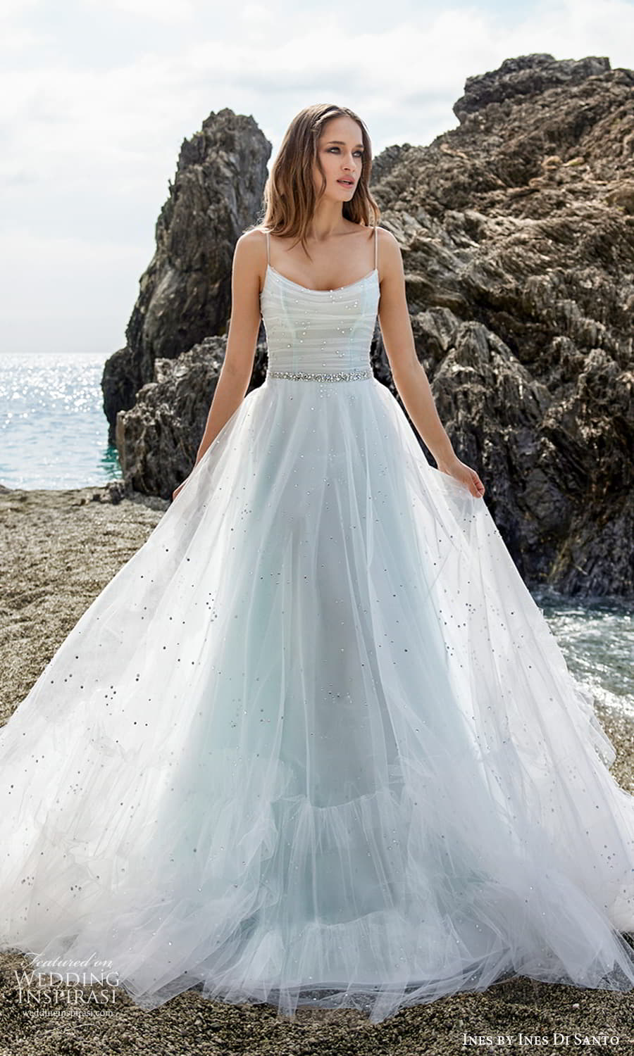 ines ines di santo spring 2022 bridal sleeveless straps scoop neckline ruched bodice a line ball gown wedding dress chapel train (13) mv