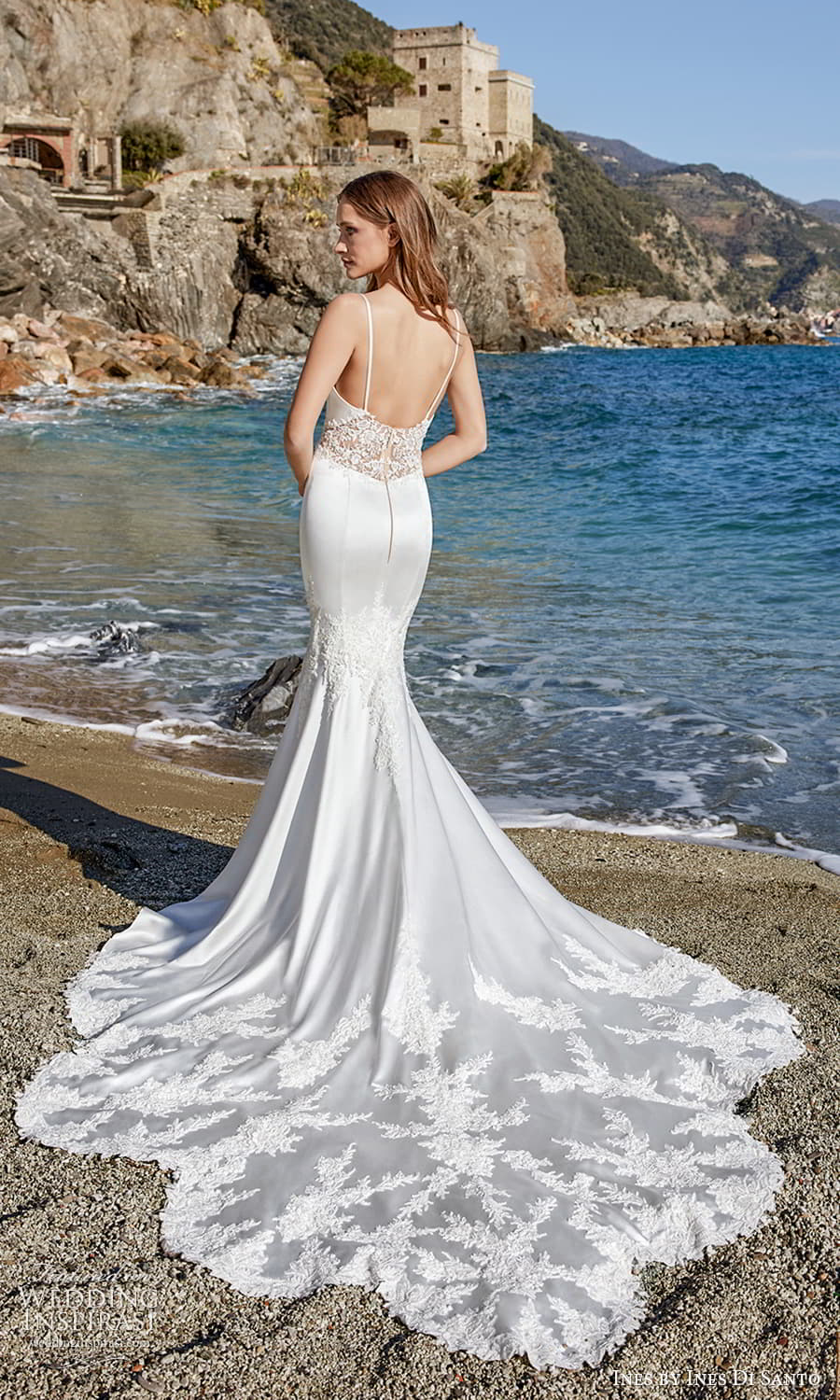 ines ines di santo spring 2022 bridal sleeveless straps sweetheart neckline embellished bodice fit flare mermaid wedding dress lace chapel train (5) bv