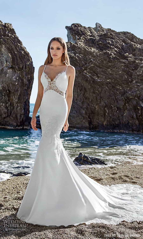 ines ines di santo spring 2022 bridal sleeveless straps sweetheart neckline embellished bodice fit flare mermaid wedding dress lace chapel train (5) mv